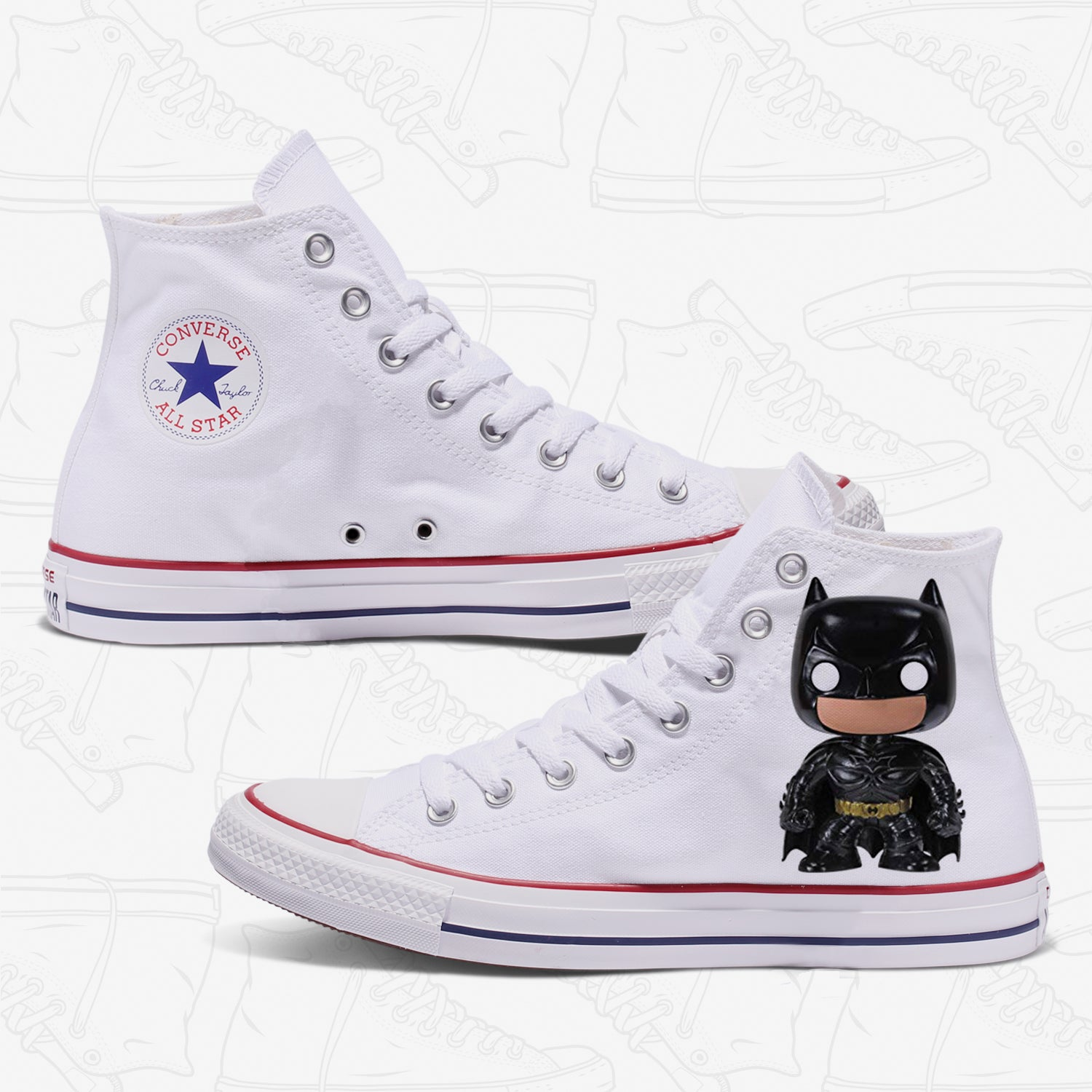 Batman Custom Converse White