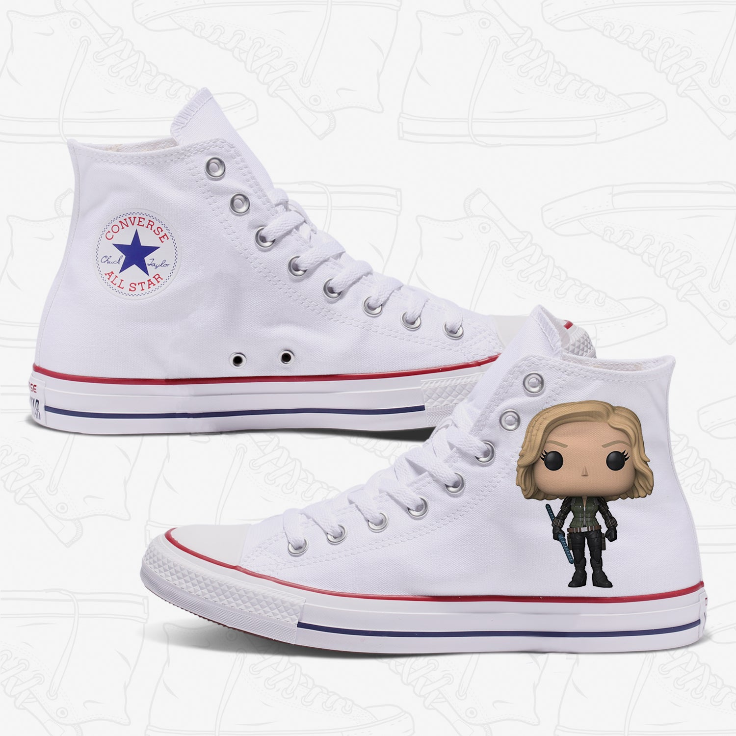Black Widow Adult Converse Shoes