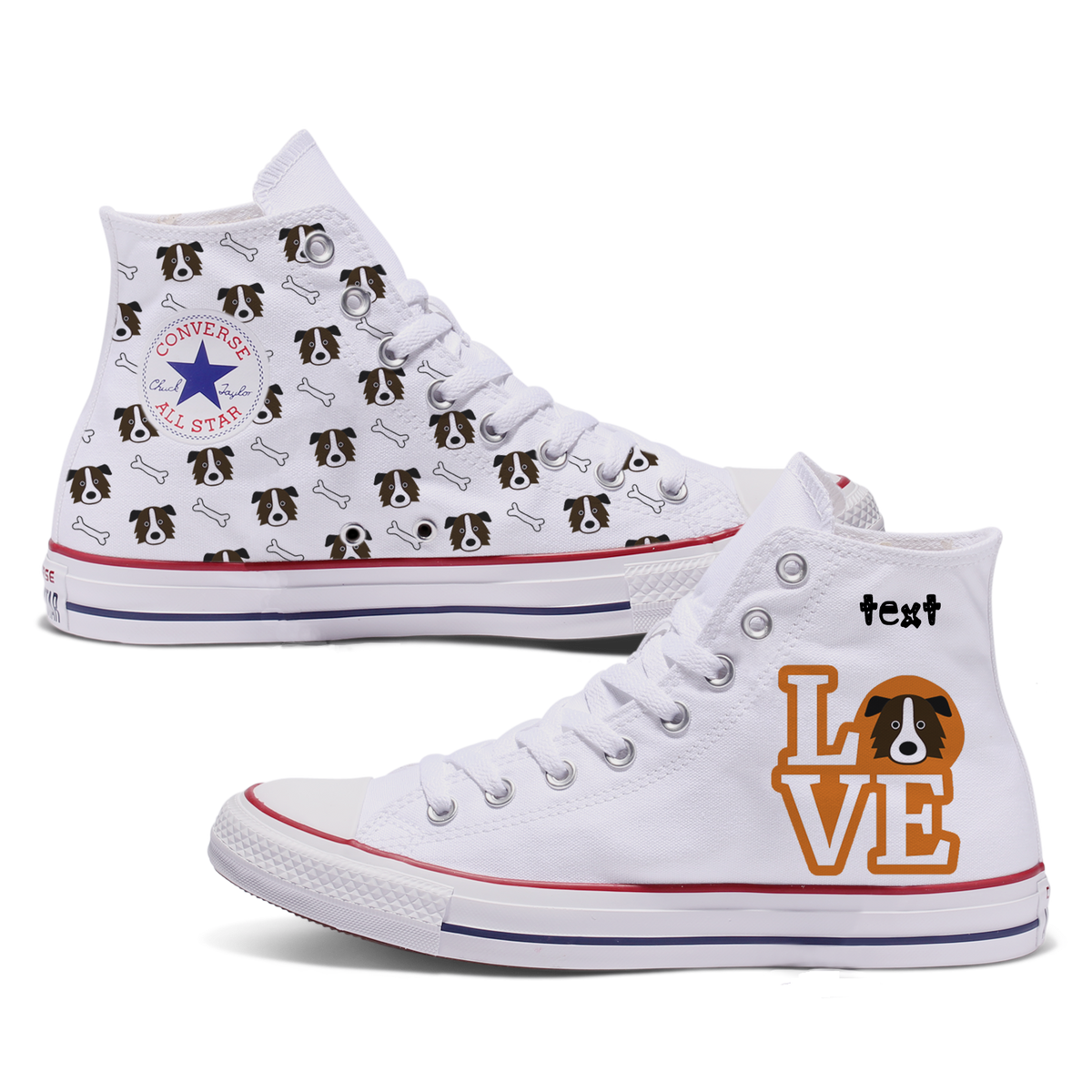 Love Border Collie Custom Converse
