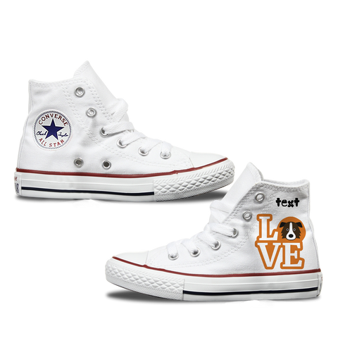 Love Border Collie Kids Personalised Converse