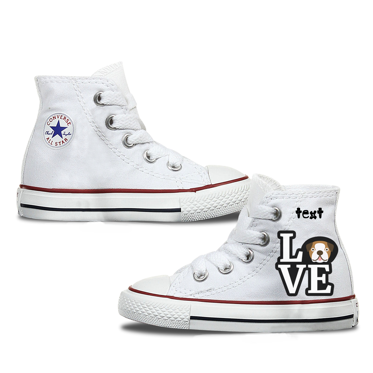 Love Bulldog Kids Personalised Converse