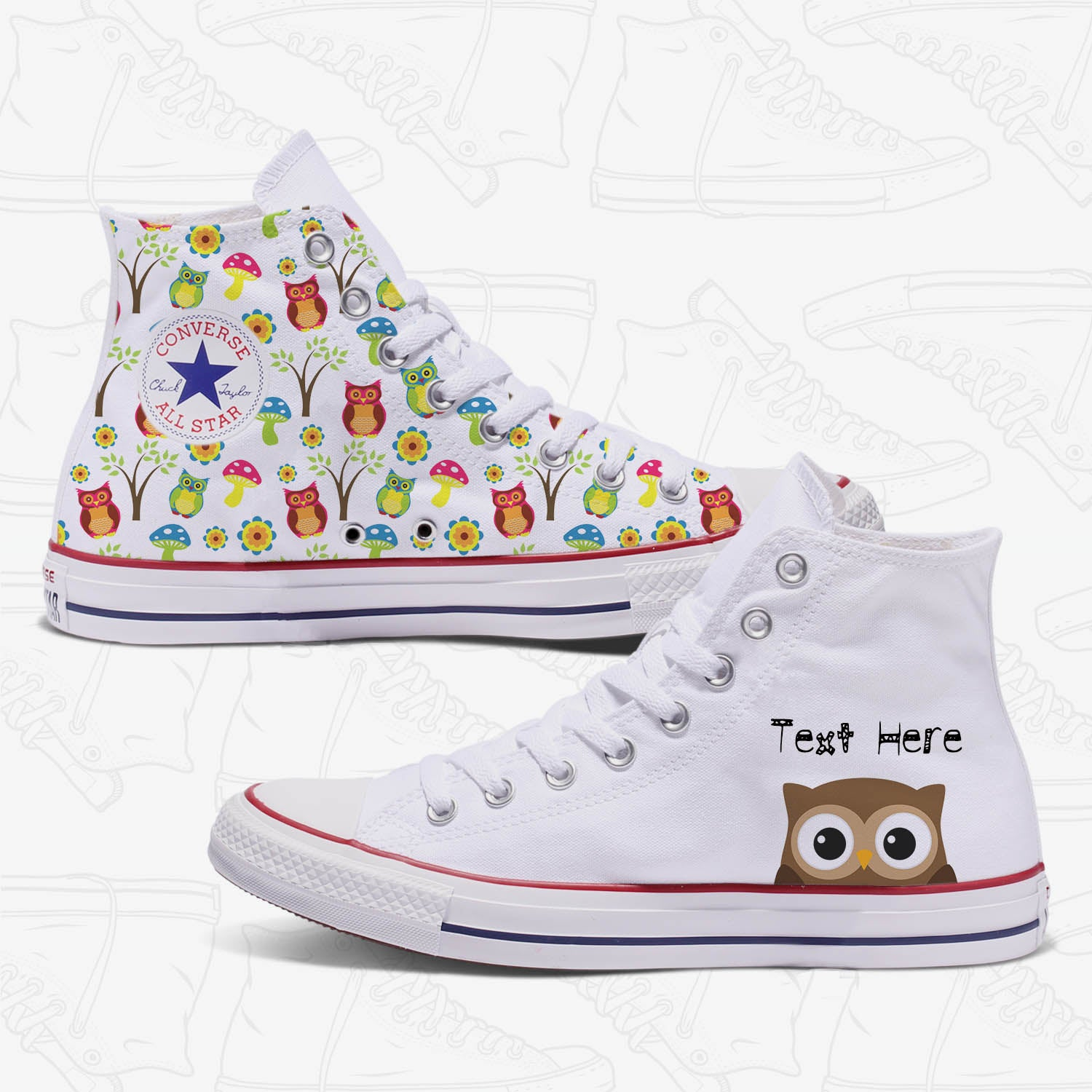 177d56b81197f1 Converse Custom Owl Adult Shoes High Top White
