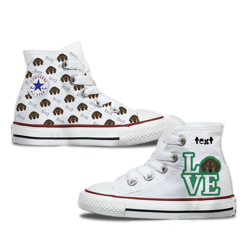 Love Dachshund Kids Personalised Converse