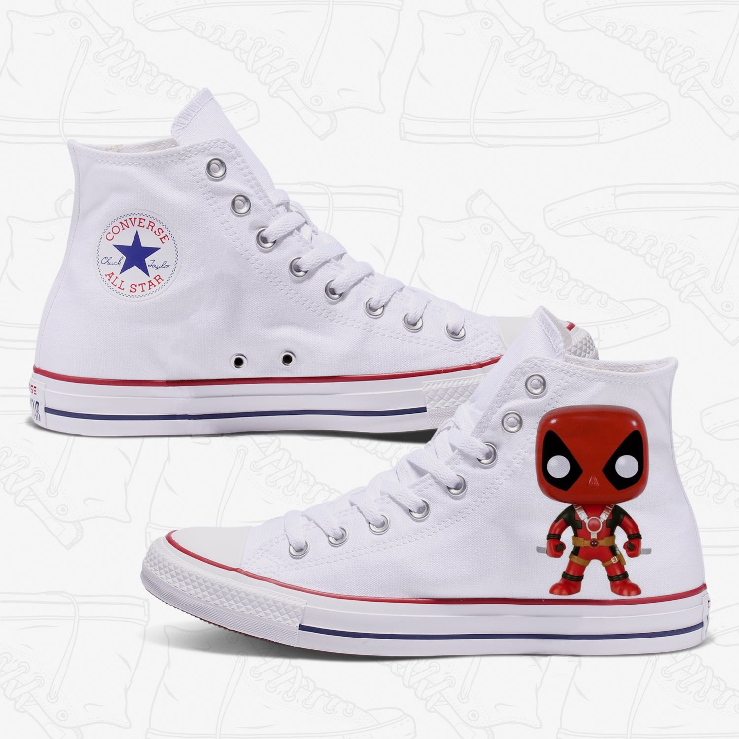 Deadpool Adult Converse Shoes