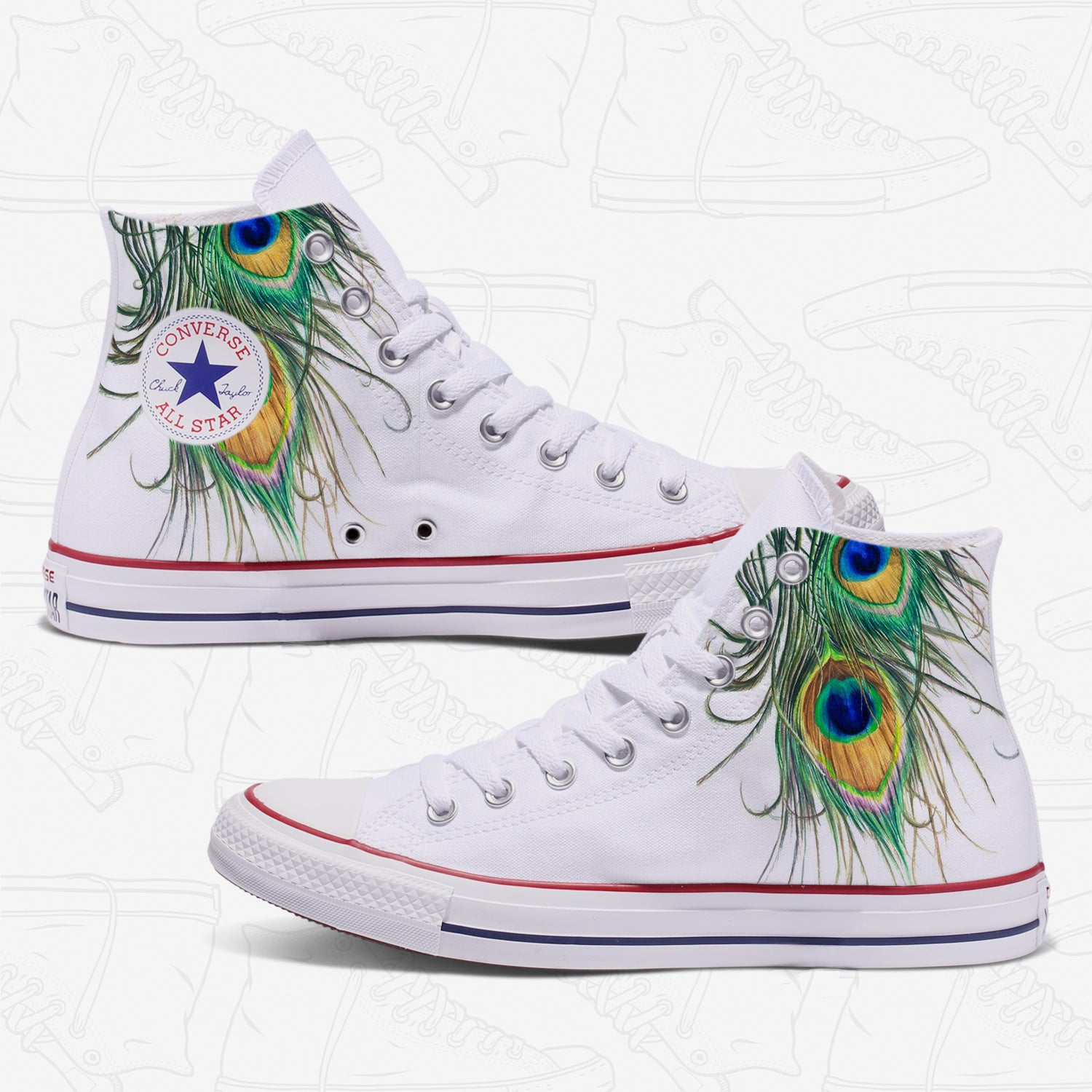 Peacock Feathers Adult Converse Shoes