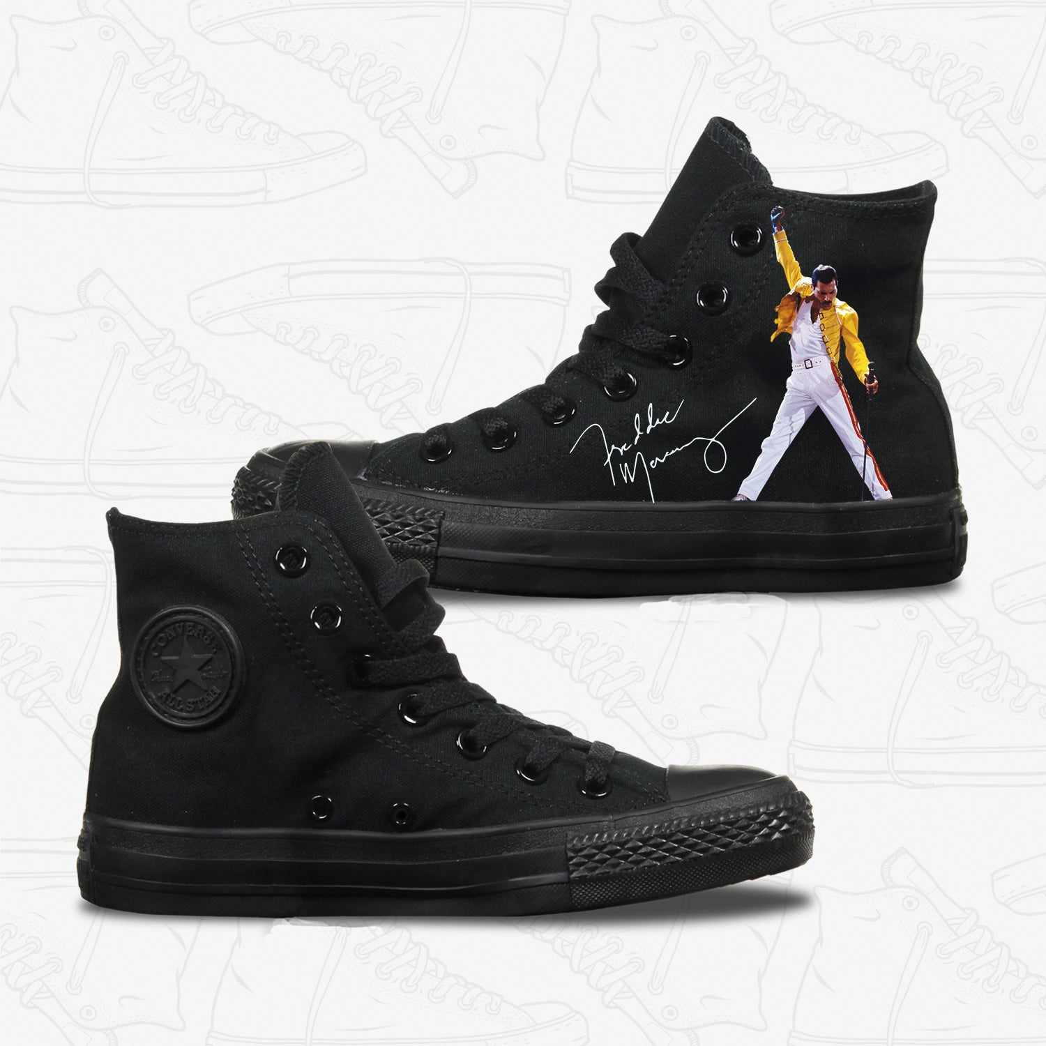 Freddie Mercury Adult Converse Shoes