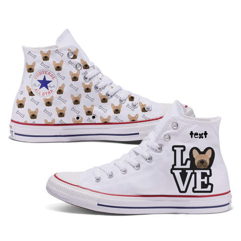 Love French Bulldog Custom Converse