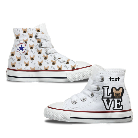 Love French Bulldog Kids Personalised Converse