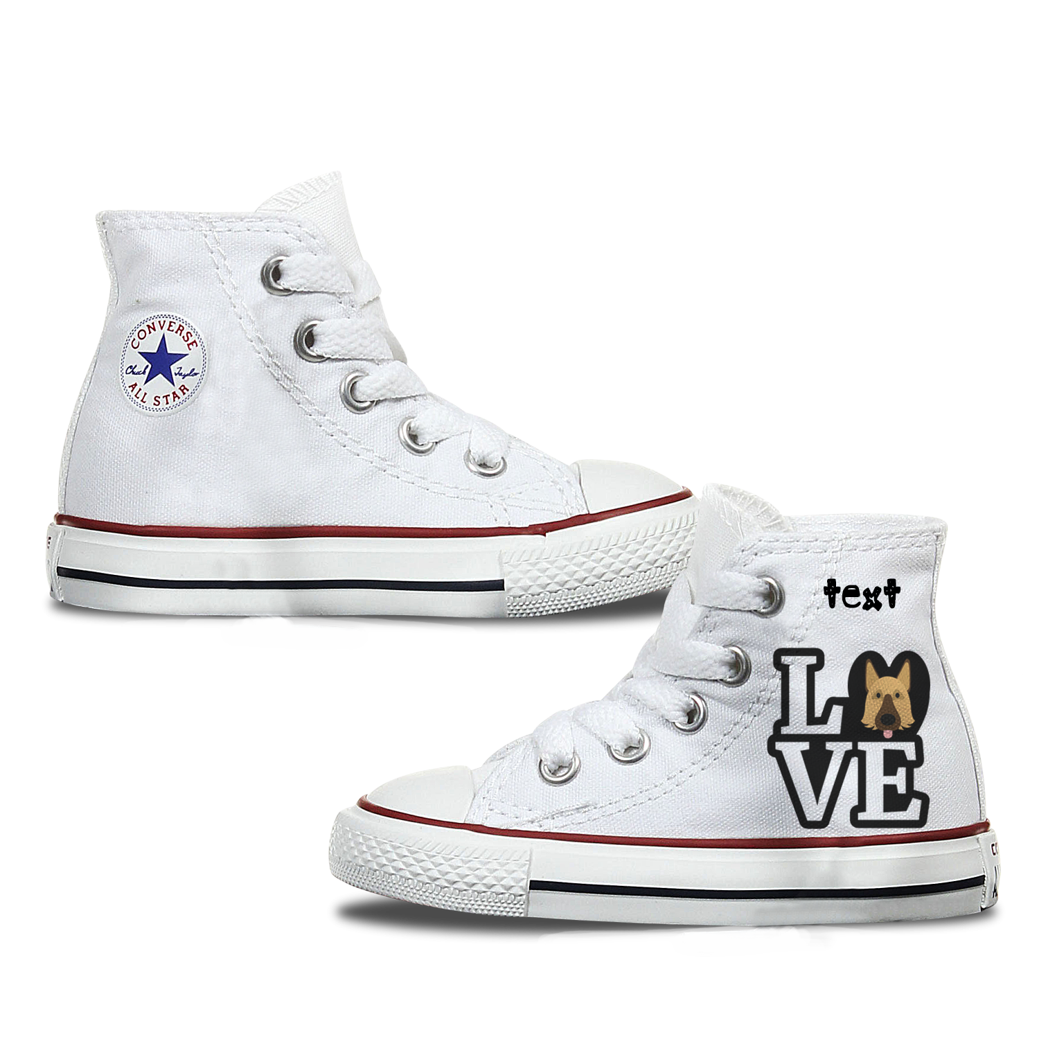 Love German Shepherd Kids Personalised Converse