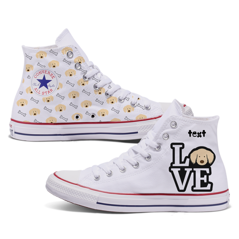 Love Golden Retriever Custom Converse