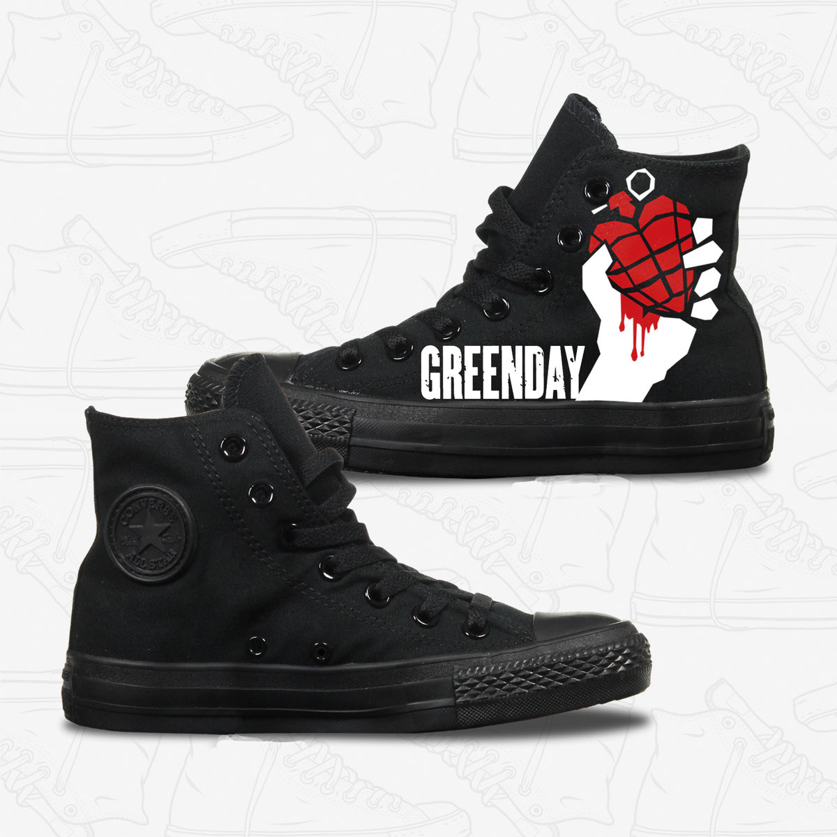 Green Day Adult Converse Shoes