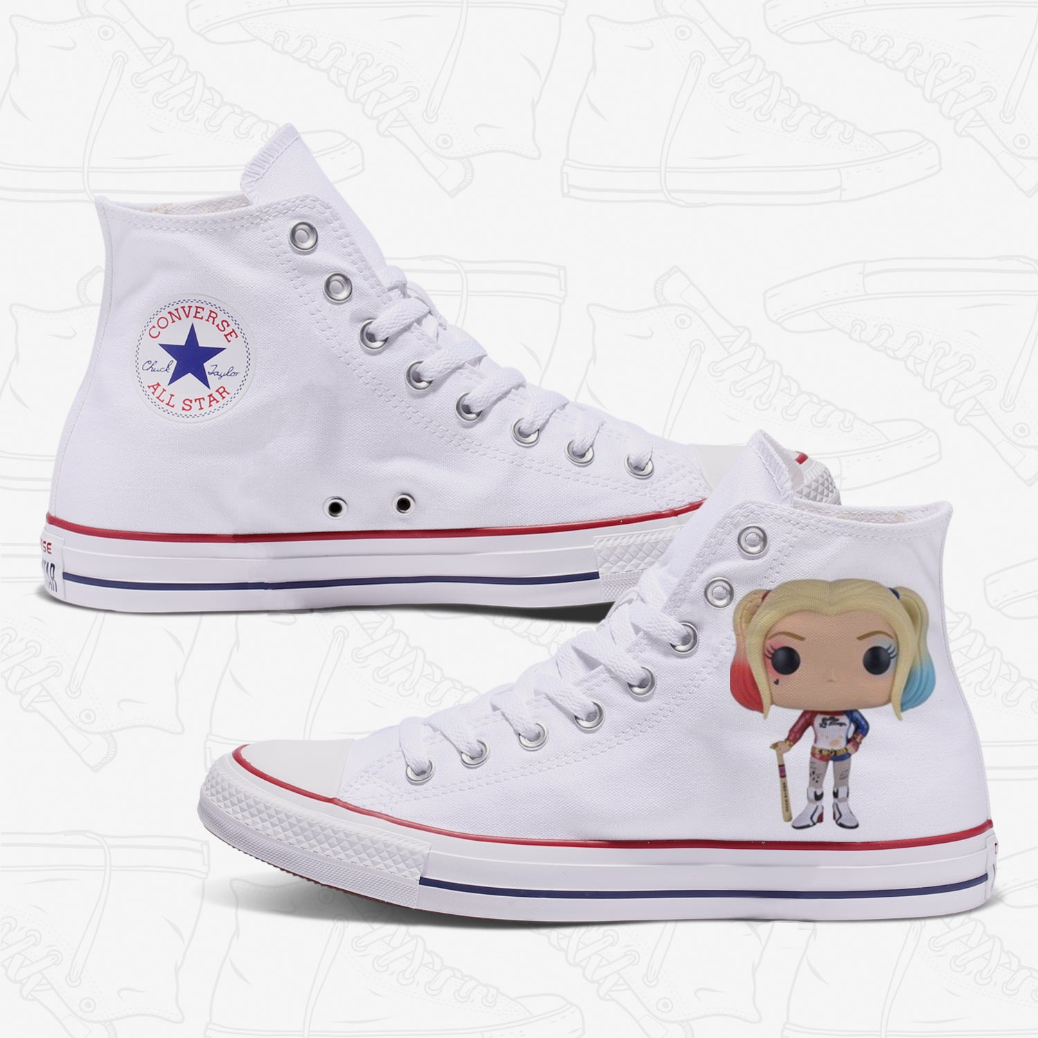 Harley Quinn Adult Converse Shoes