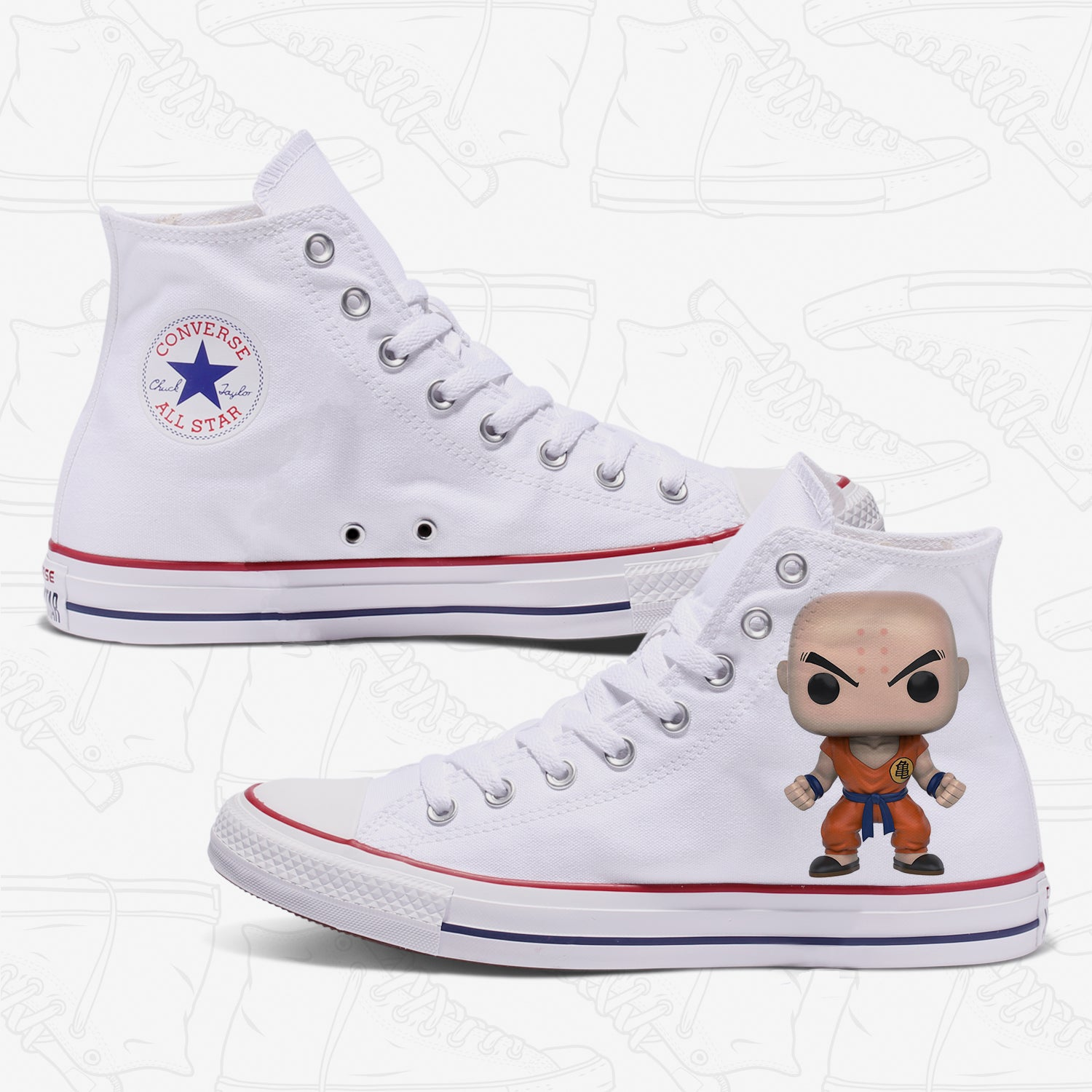 Krillin Adult Converse Shoes