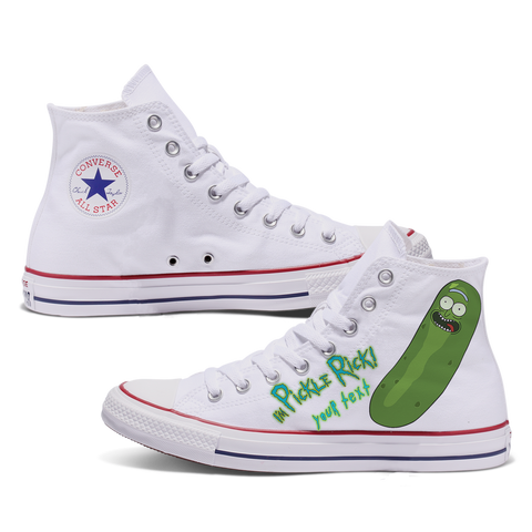 Pickle Rick Custom Converse White