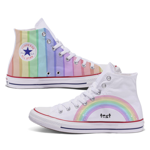 Rainbow Custom Converse High Top White