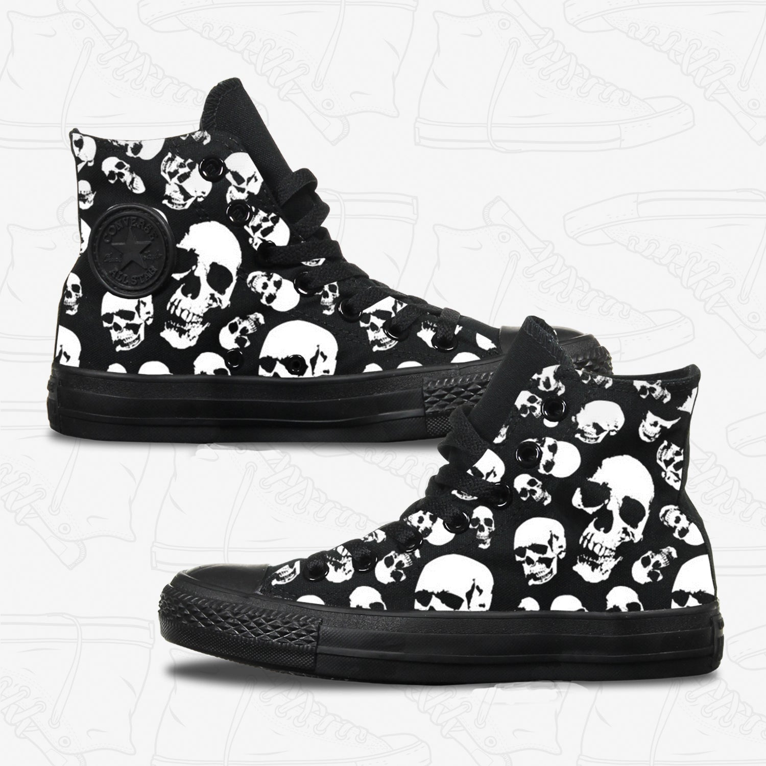 Skulls Adult Converse Shoes