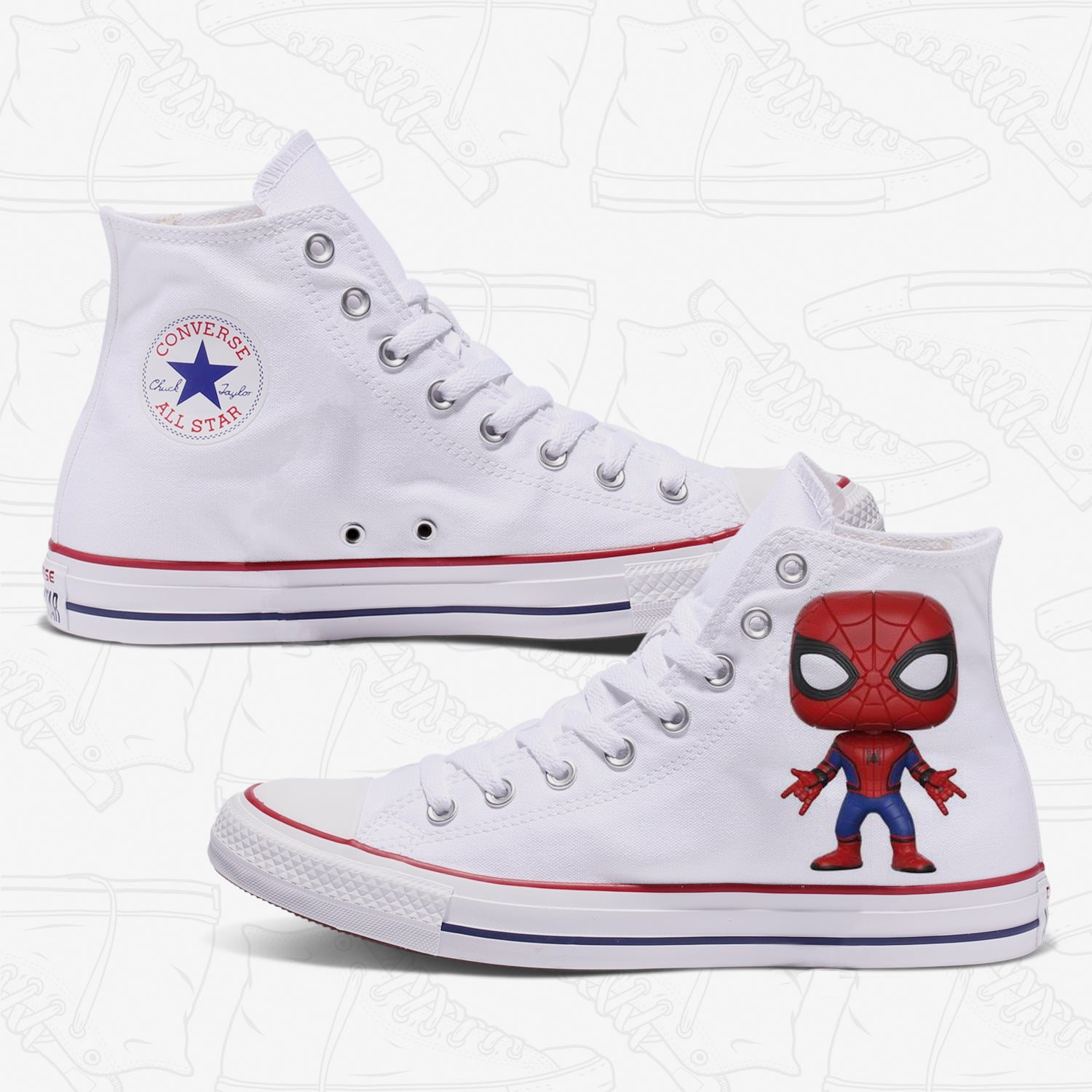 Spider Man Custom Converse White