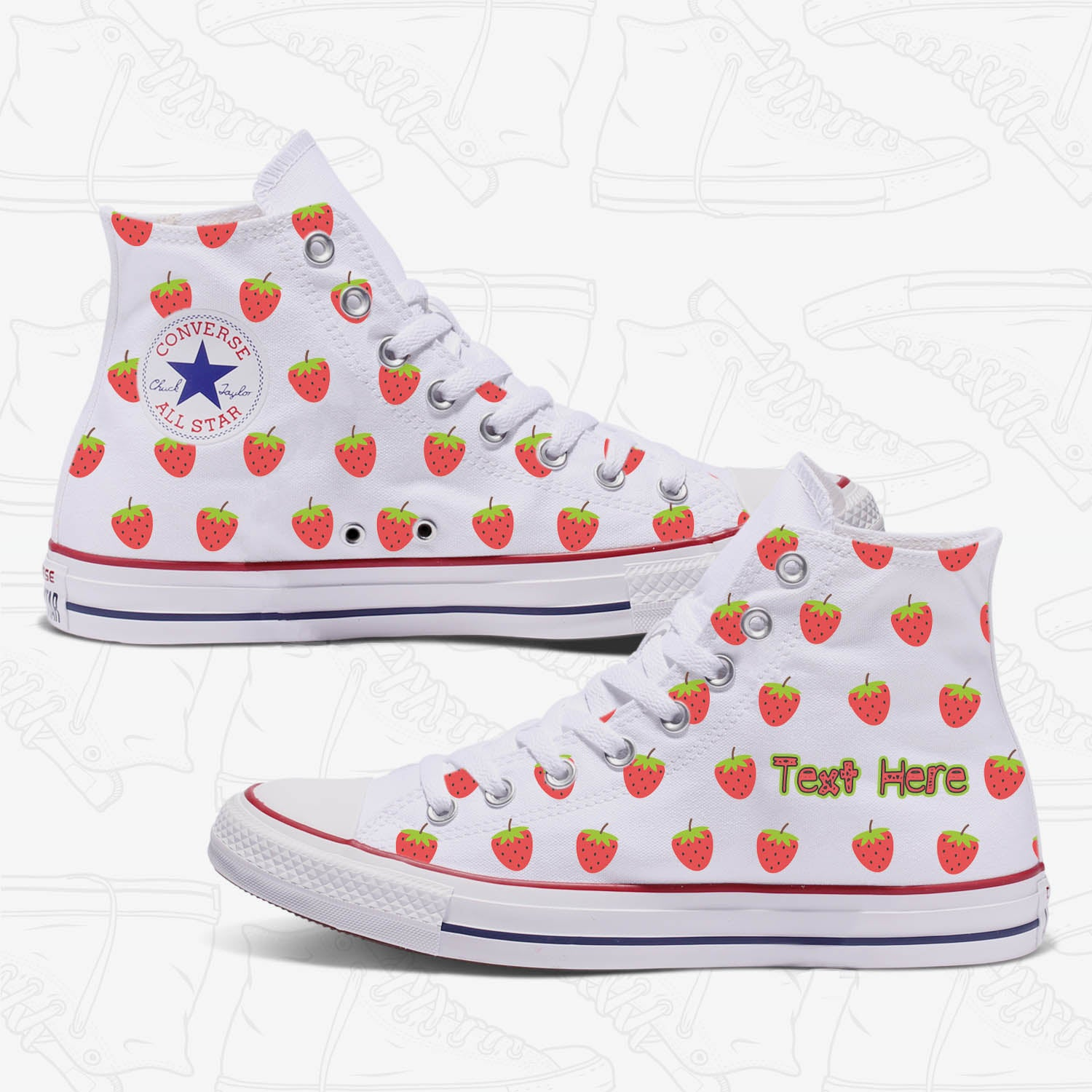 Strawberry Custom Adult Converse Chuck Taylor