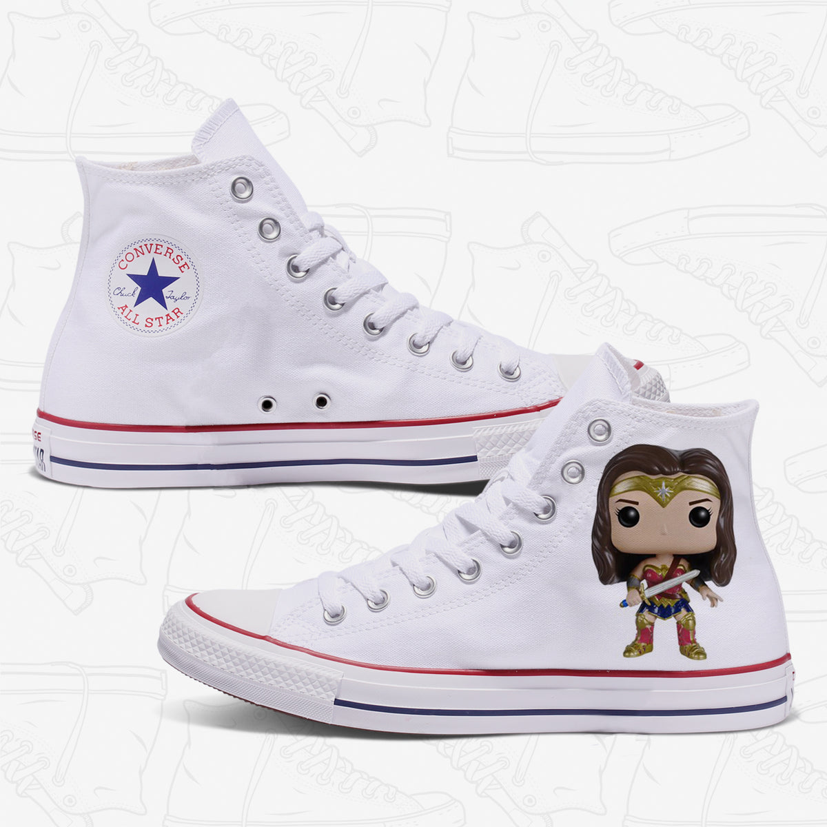 Wonder Woman Adult Converse Shoes