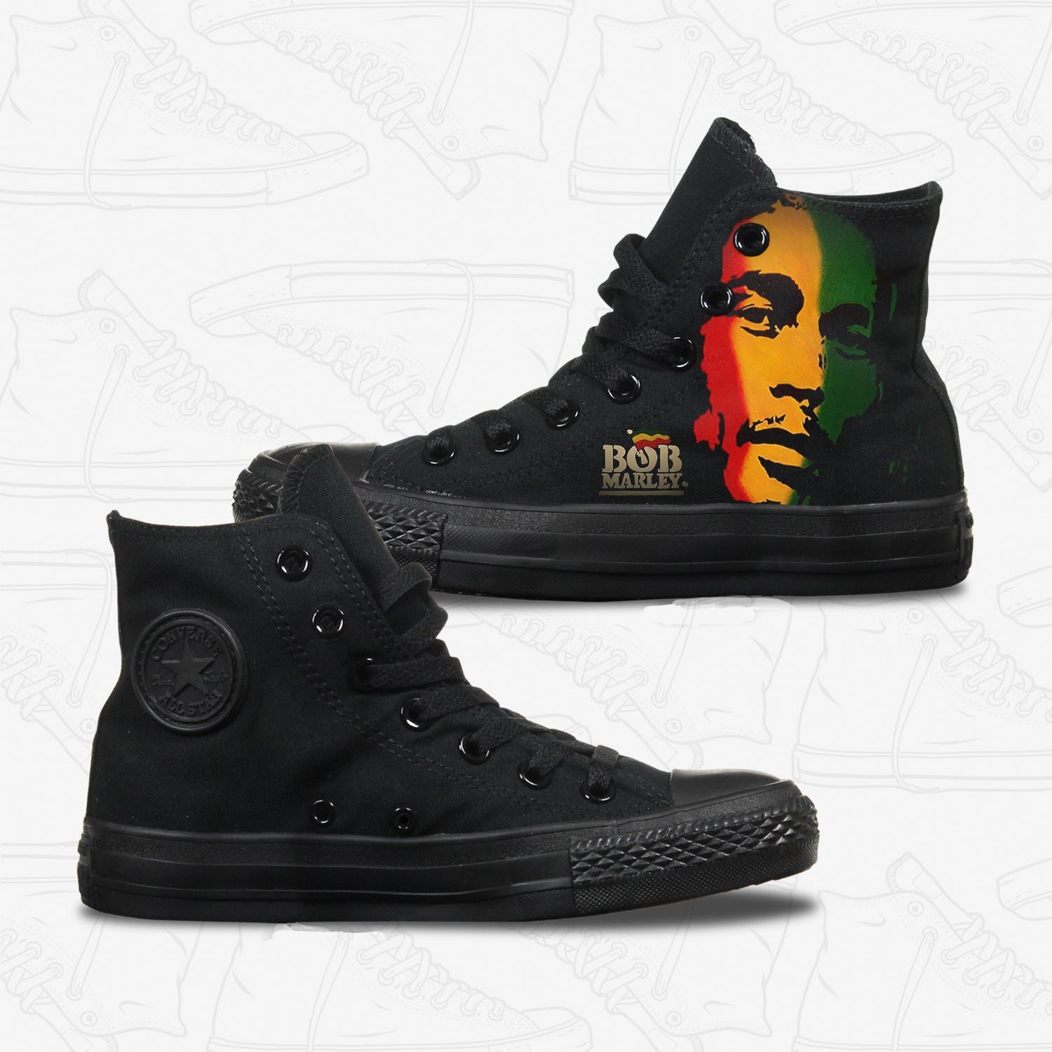 Bob Marley Adult Converse Shoes