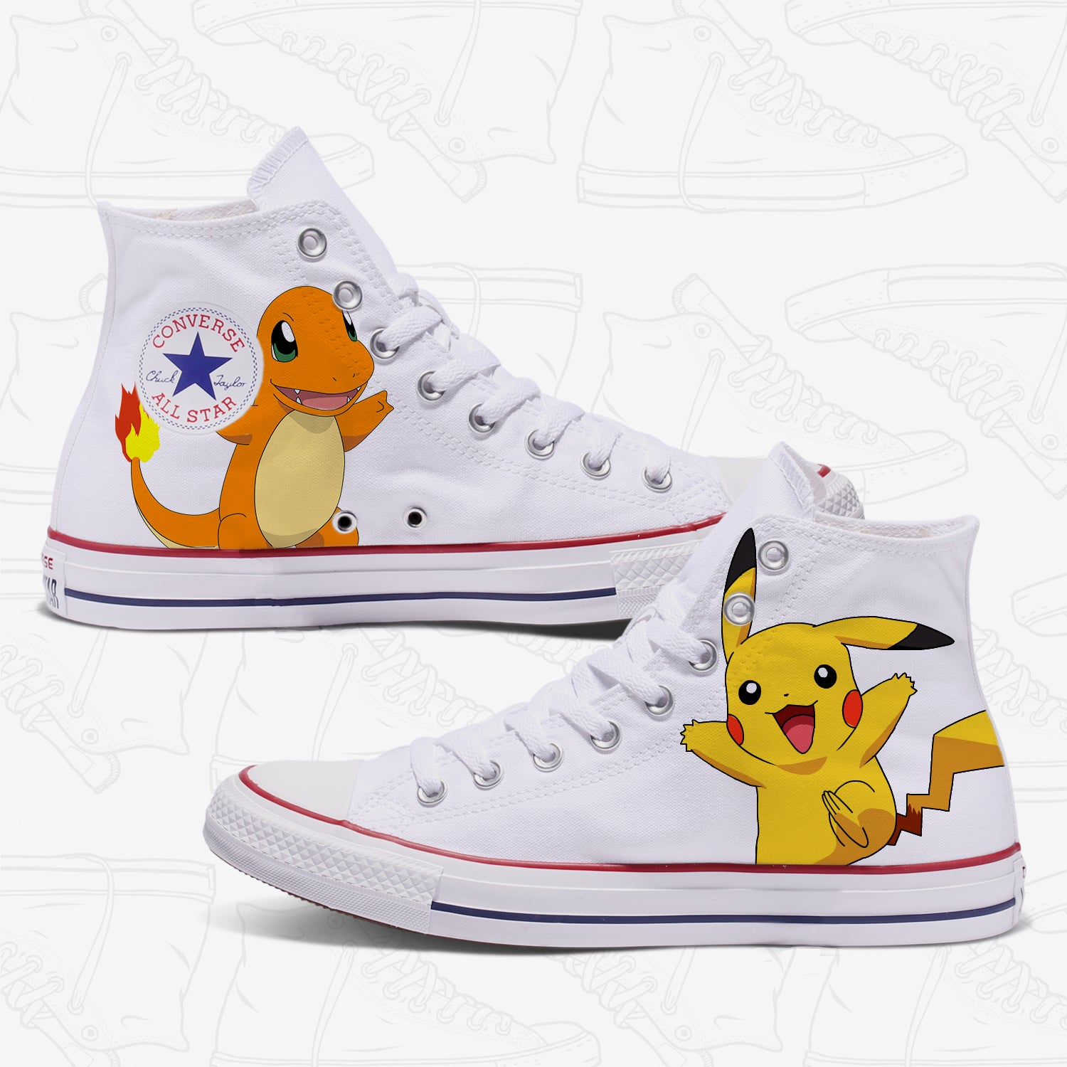1e041cea3453 Converse Custom Pokemon Adult Shoes White