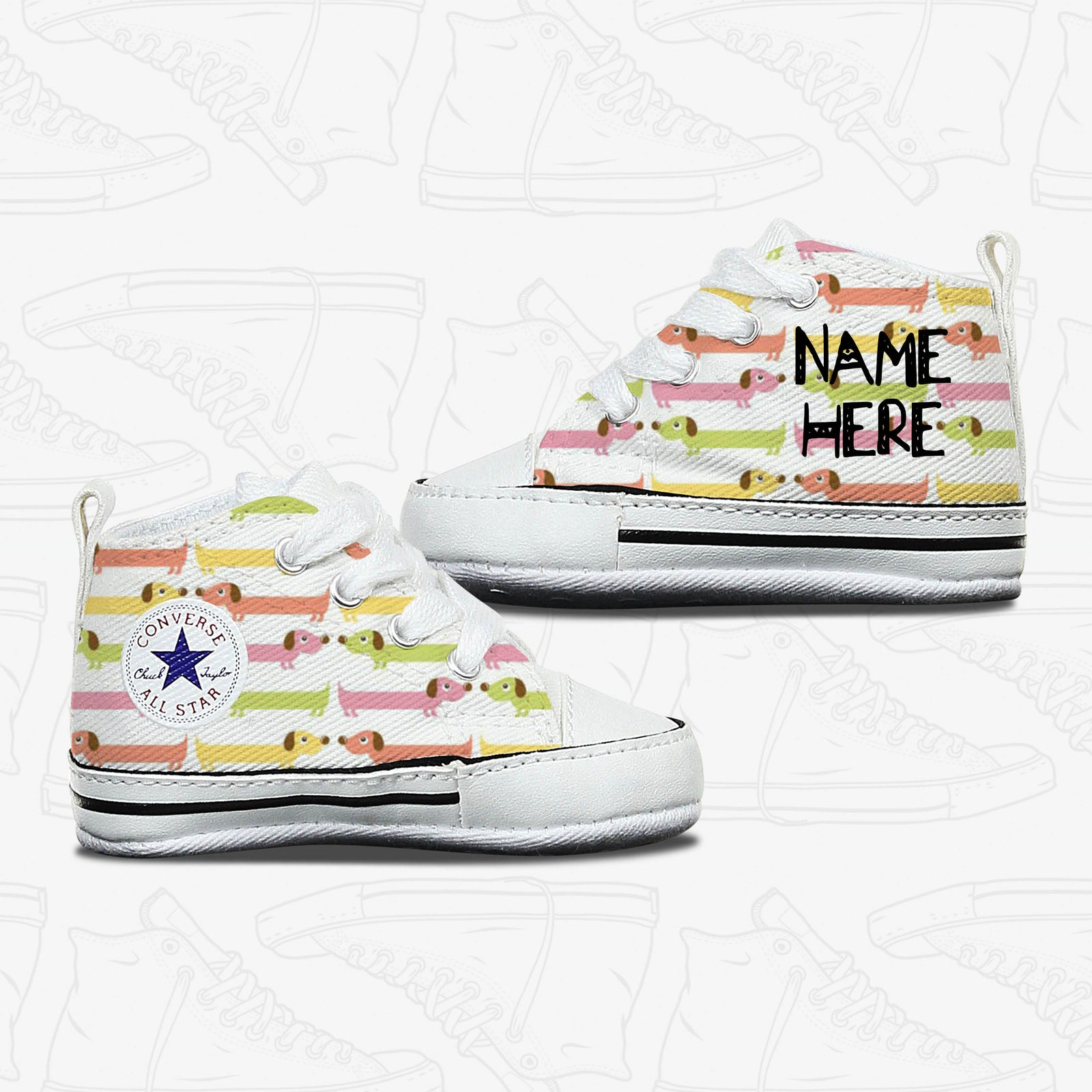 Sausage Dog Baby Infant Converse Shoes