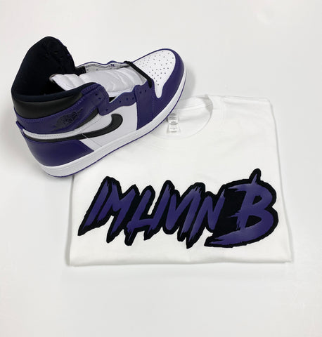 3D Ruff Logo T White (Court Purple Jordan 1)