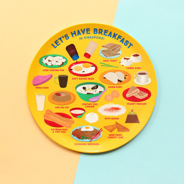 10 Inch Plate – Let's have breakfast in Singapore