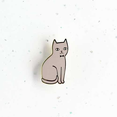 Audrey Jeanne Brooch – Grey Cat