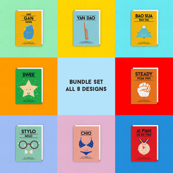 Strangely Singaporean Greeting Card Bundle Set – 8 designs