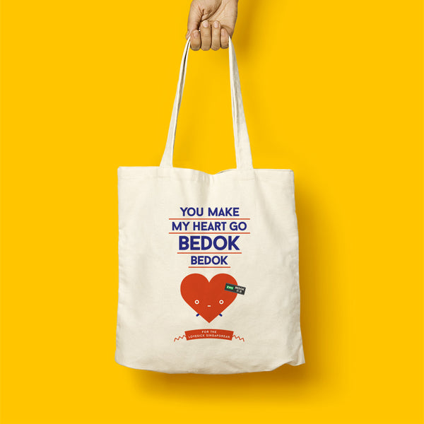 Strangely Singaporean Tote – You make my heart go Bedok Bedok