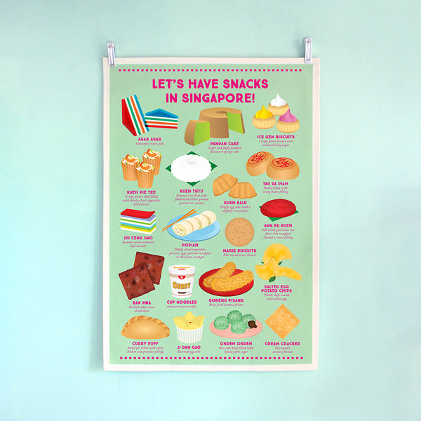 Tea Towel – Let's have Snacks in Singapore