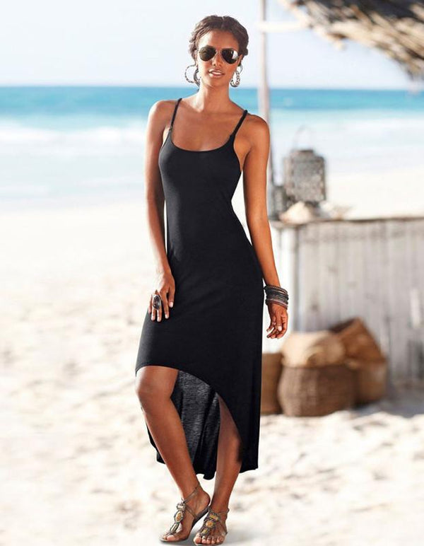 Beach No-frills Black Suspenders Sexy Cotton Dress