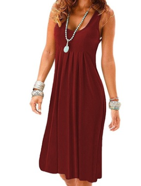 Solid color vest sleeveless slim dress