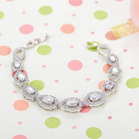 Bracelets-Fashion Creative Teardrop Pattern Handmade Bangle Bracelet AAA Zircon Bracelet