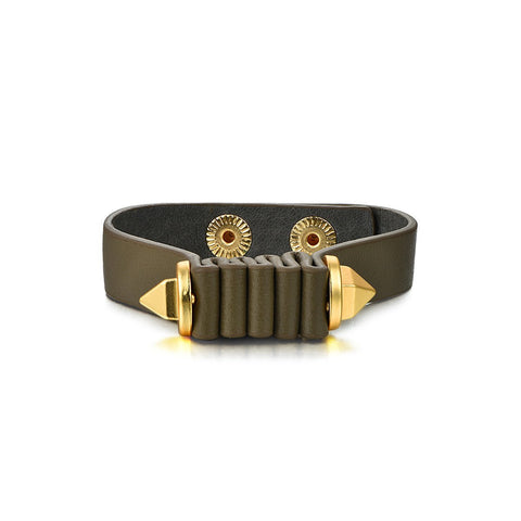 Flash Sale-Five-Fold Bracelet Real Leather & Gold