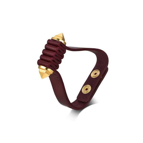 Five-Fold Bracelet Real Leather & Gold
