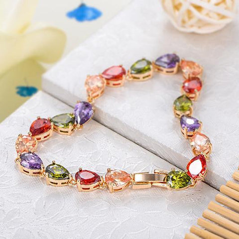 Bracelets-George Smith Eye-Catching Multicolor Zircon Charming Ladies Crystal Bracelet