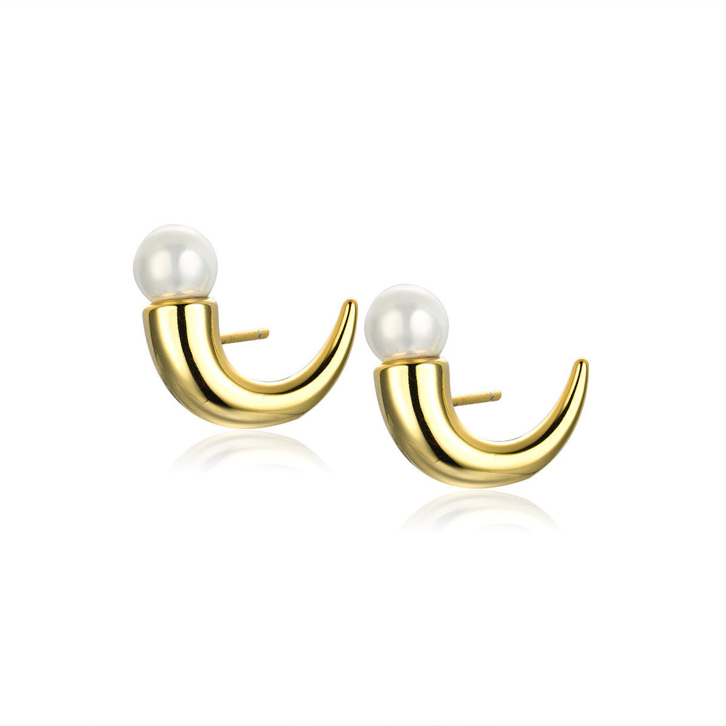 Flash Sale-Ox Horn Pearl Earrings