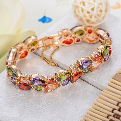 Bracelets-Romelar Rom0012 George Smith Charming Colorful Zircon Crystal Luxury Bracelet AAA Zircon Bridal Accessory 1060143282