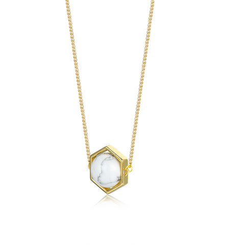 Flash Sale-Sense Of White Marble And Stone Necklace