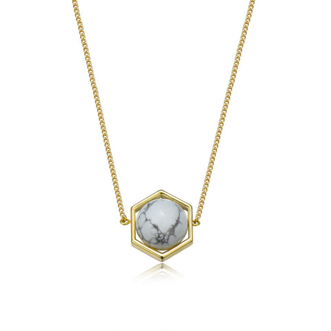 Sense Of White Marble And Stone Necklace
