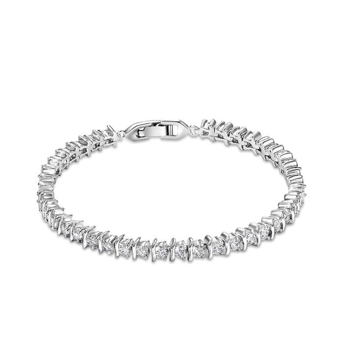 Bracelets-Simple Luxury George Smith Double Row Rhinestone AAA Zircon Crystal Bracelet for Wedding