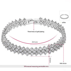 Stylish G & S Creative Ice Drop Design Four Claw AAA Zircon Charming Handmade Bracelet