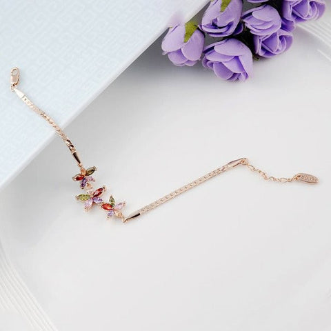 Bracelets-Top Quality Women Rose Gold Plated Jewelry Flowers Zircon Bracelet Party Wedding Gifts