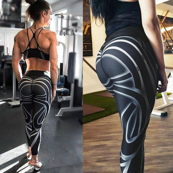 Sports Pants-Women Sports Gym Yoga Workout Mid Waist Running Pants Fitness Elastic Leggings