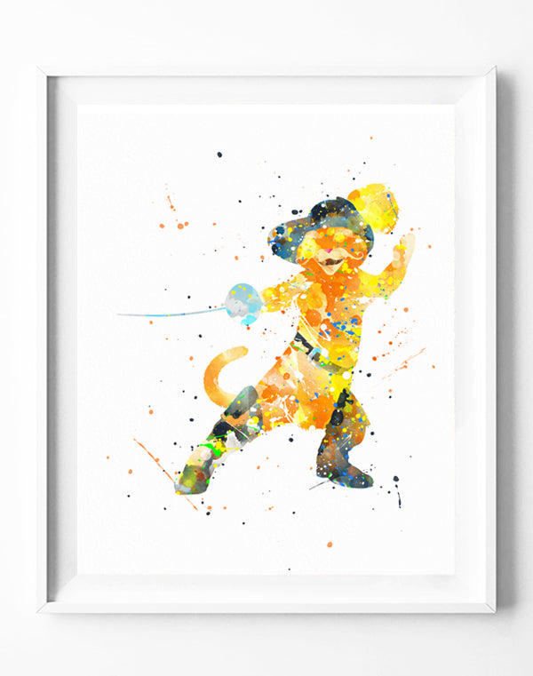325e22492dacb Disney Shrek Poster Puss in Boots Art Print Cat Watercolor Painting Wall  Art Home Decor Kids Room Baby Nursery Gifts [212]