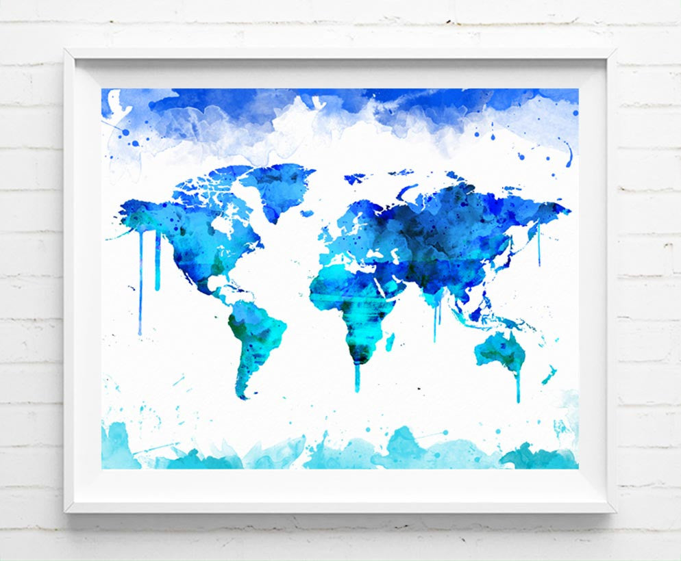 World map poster travel map art prints watercolor painting wall art world map poster travel map art prints watercolor painting wall art home decor nursery kids gifts gumiabroncs Image collections