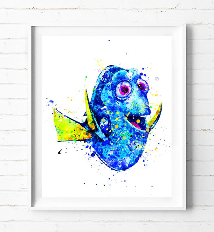 Disney Dory Art Print Finding Nemo Poster Watercolor Painting Wall ...