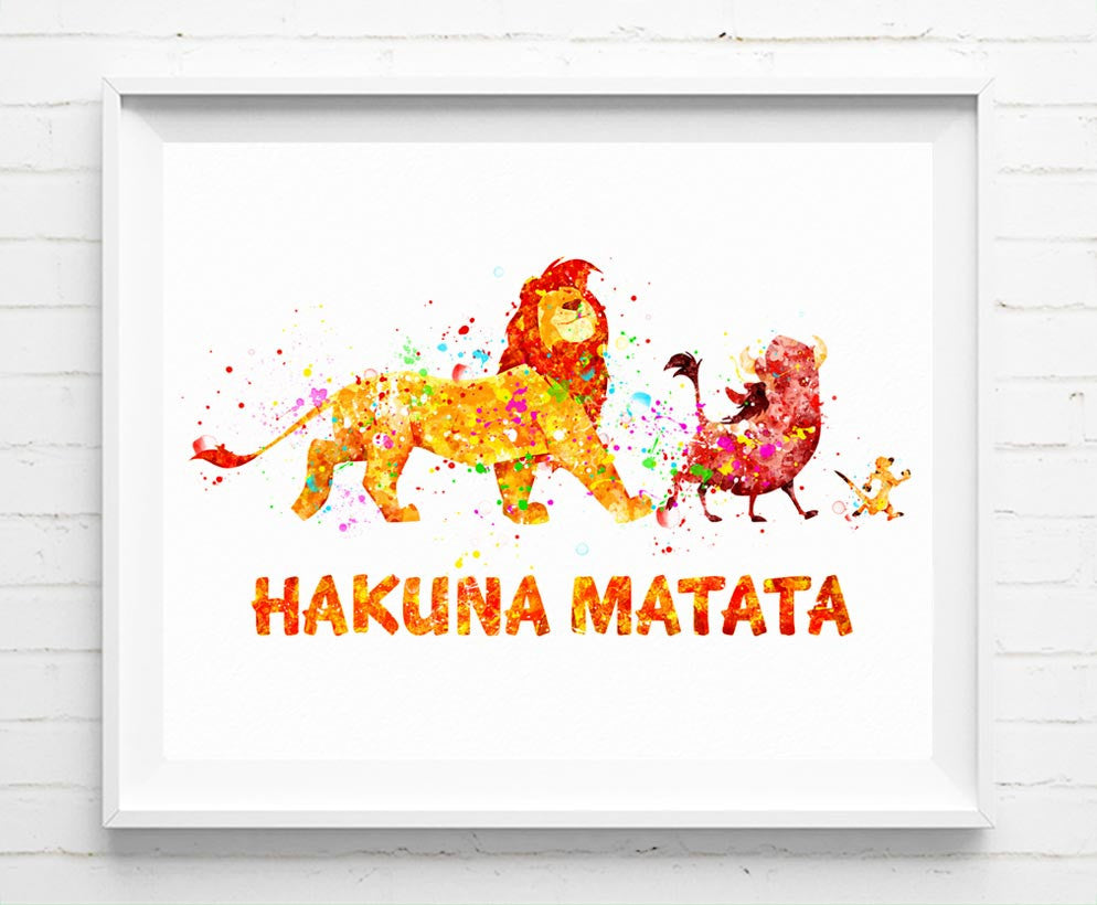 Disney Lion King Poster Simba Timon and Pumbaa Hakuna Matata Art ...